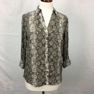 The Limited Snake Print Button Down Top